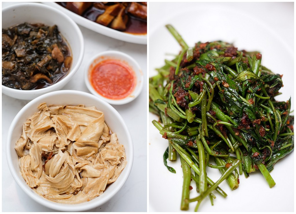 ChaoZhou Porridge: & Dried Shrimps stir fried with Water Spinach