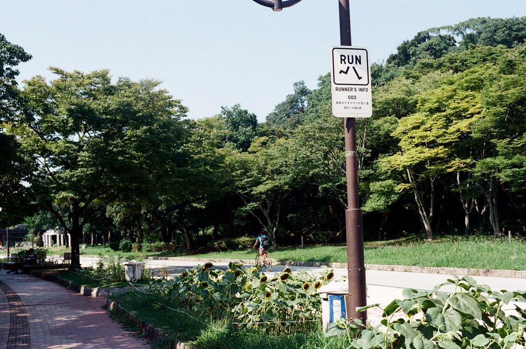 大濠公園 福岡 Fukuoka 2015/09/04 中間有一段我沒有拍攝,我去了福岡市美術館,這是要離開大濠公園的時候看到路燈上面慢跑的圖示。  Nikon FM2 / 50mm Kodak UltraMax ISO400 Photo by Toomore