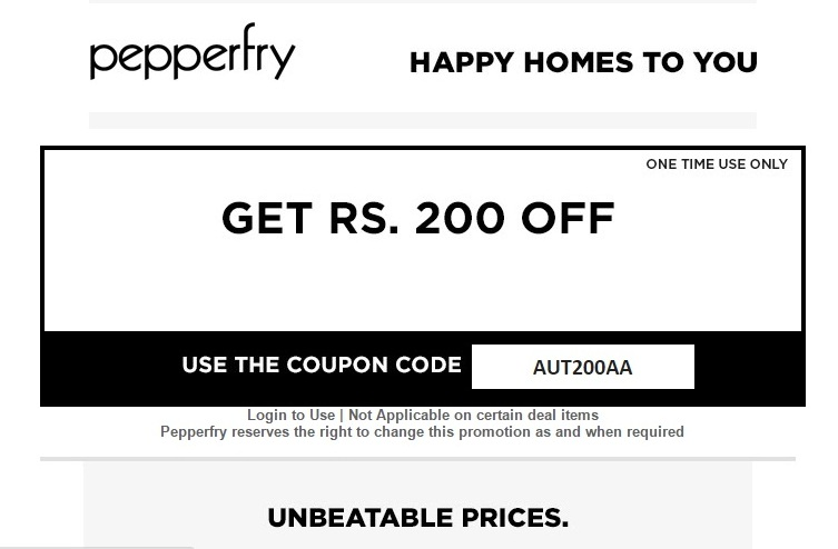 pepperfry 200 off coupon