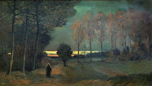 Осенний пейзаж в сумерки. Винсент Ван Гог