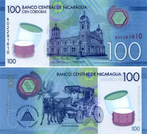 100 Córdobas Nikaragua 2015, polymer