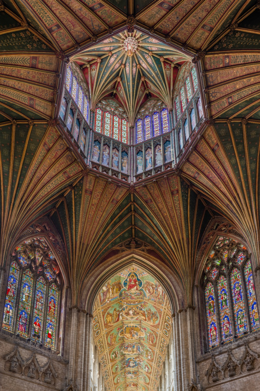 Ely Cathedral - The ceiling of the nave and lantern, viewed from the Octagon. Credit: David Iliff