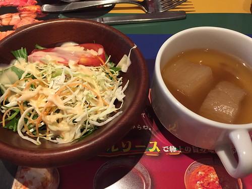 ランチセットのサラダとスープ ステーキ Rolling stone