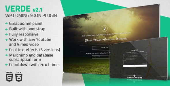 Codecanyon Verde v2.1 - Responsive WordPress Coming Soon Plugin
