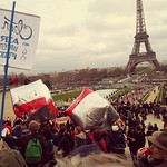 Sat, 12/12/2015 - 2:10pm - Eiffel Tower in our sites there were a couple of police blockages but it was easy enough for the marches to walk around them no confrontations or arrest tens of thousands of people converge from different location to the Eiffel Tower during the Paris clim