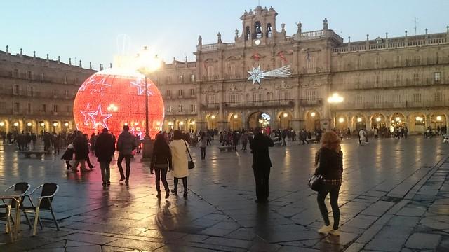 Plaza Mayor de Salamanca,  al anochecer del 30 de diciembre,  2016 - España