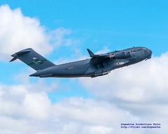 #JBLM C-17 Gear Coming Up, Flaps Coming Up, Beacon Flashing On Into the Clouds