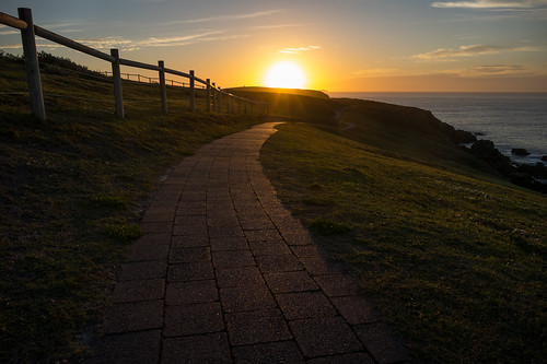 track path sunrise coastal emeraldbeach nsw australia landscape fence
