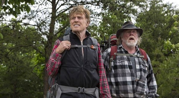 Robert Redford and Nick Nolte take a dull stroll along the Appalachian Trail in A WALK IN THE WOODS.