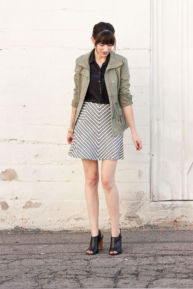 Loft Flippy Skirt, Striped Skirt, Green Cargo Jacket, Everlane Silk Shirt, Mules