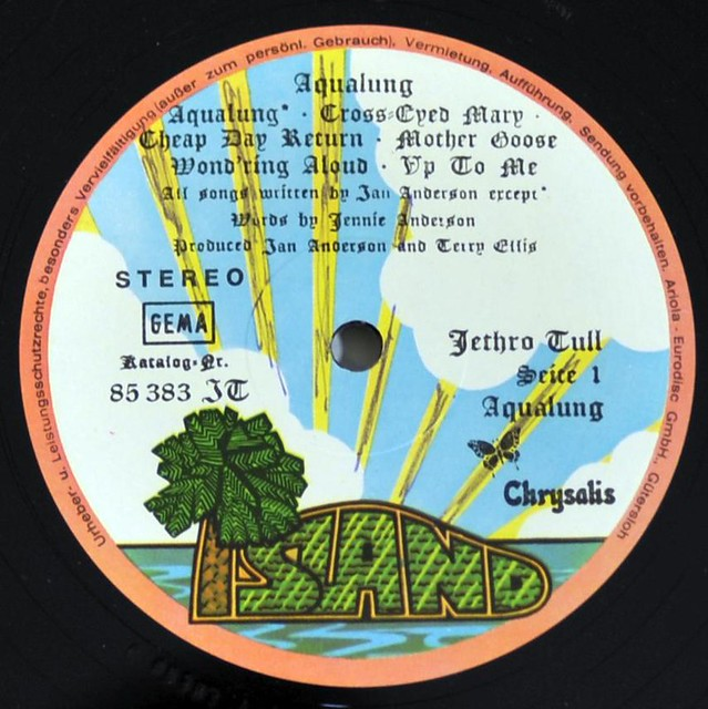 "JETHRO TULL AQUALUNG PALM-TREE ISLAND GATEFOLD Germany 12"" Vinyl LP"