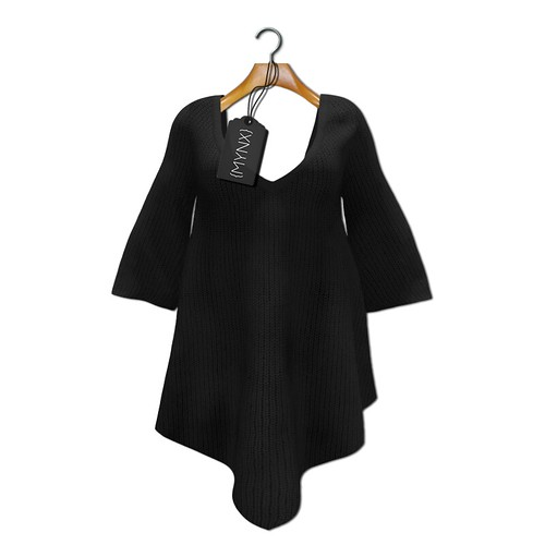 {MYNX} Sweater Poncho - Black