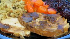 Baked turkey with stuffing, gravy, glazed carrots,…