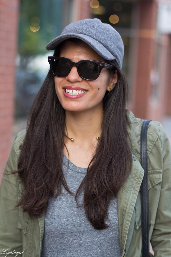 grey sweatshirt dress, field jacket, wool ball cap, dog walking-10.jpg