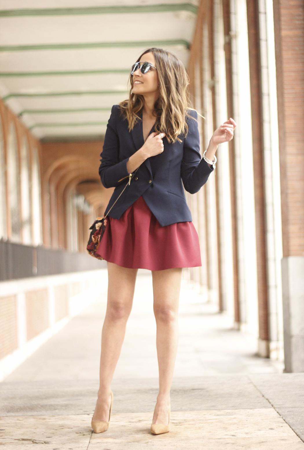 Blue Blazer Burgundy Skirt Outfit21