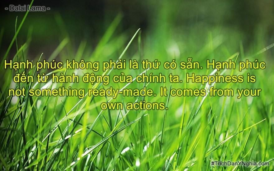 Hạnh phúc không phải là thứ có sẵn. Hạnh phúc đến từ hành động của chính ta.