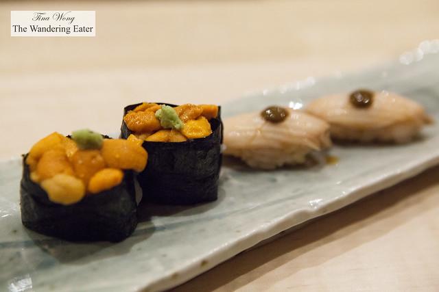 Hokkaido uni and abalone sushi