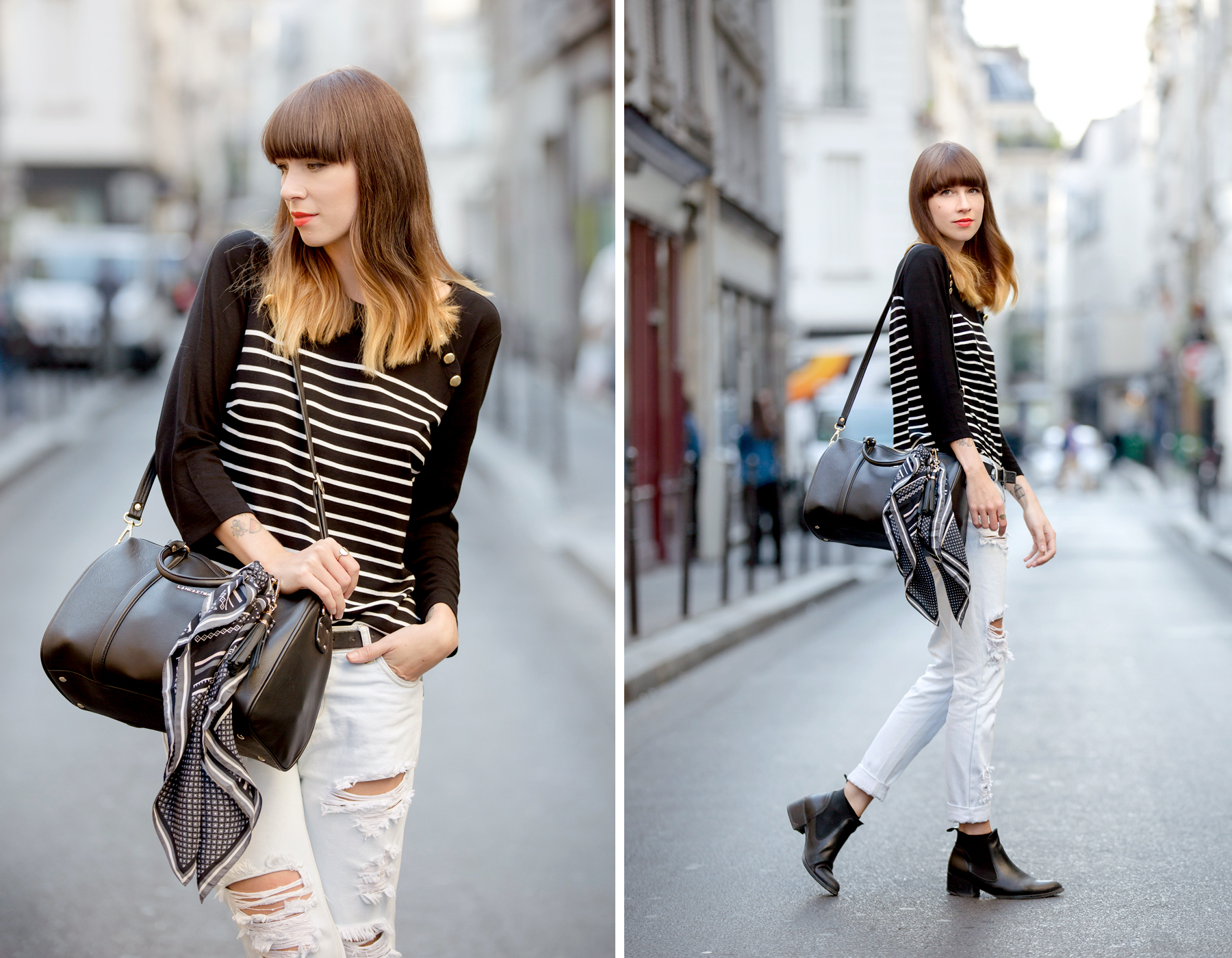 outfit ootd lancaster bag striped shirt paris fashionweek pfw le marais parisienne chic fashionblogger cats & dogs blog ricarda schernus 5
