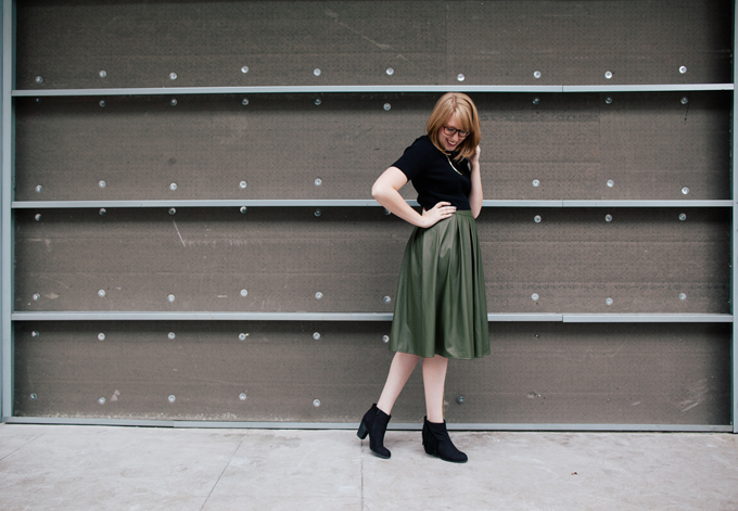 olive leather skirt crop top2