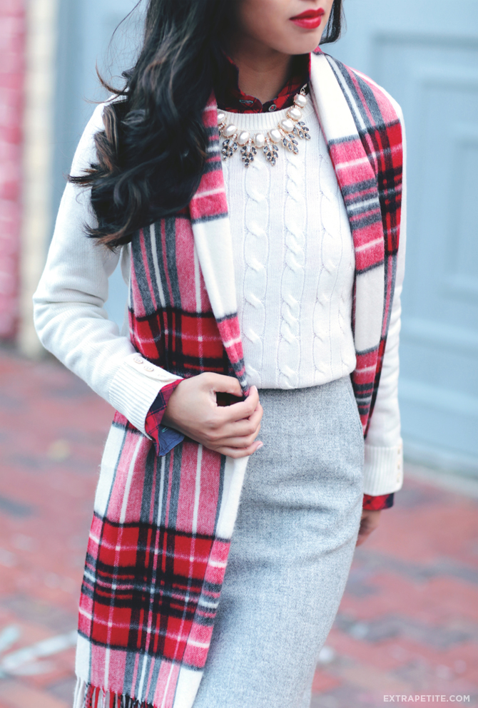 petites winter outfit cable sweater plaid scarf