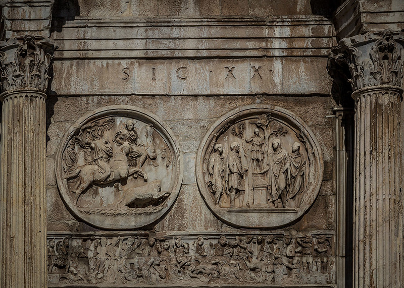 Battle of Milvian Bridge depicted on the Arch of Constantine, Rome