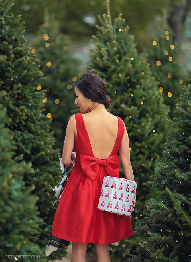 nordstrom bow back red holiday dress