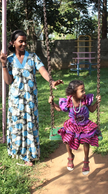 Rupa and Bhagya in the Royal Enclave property owner welfare association (REPOWA) park. Normally this park is off limits for domestic helpers and their children but road upgrades around the lake have unlocked many doors!
