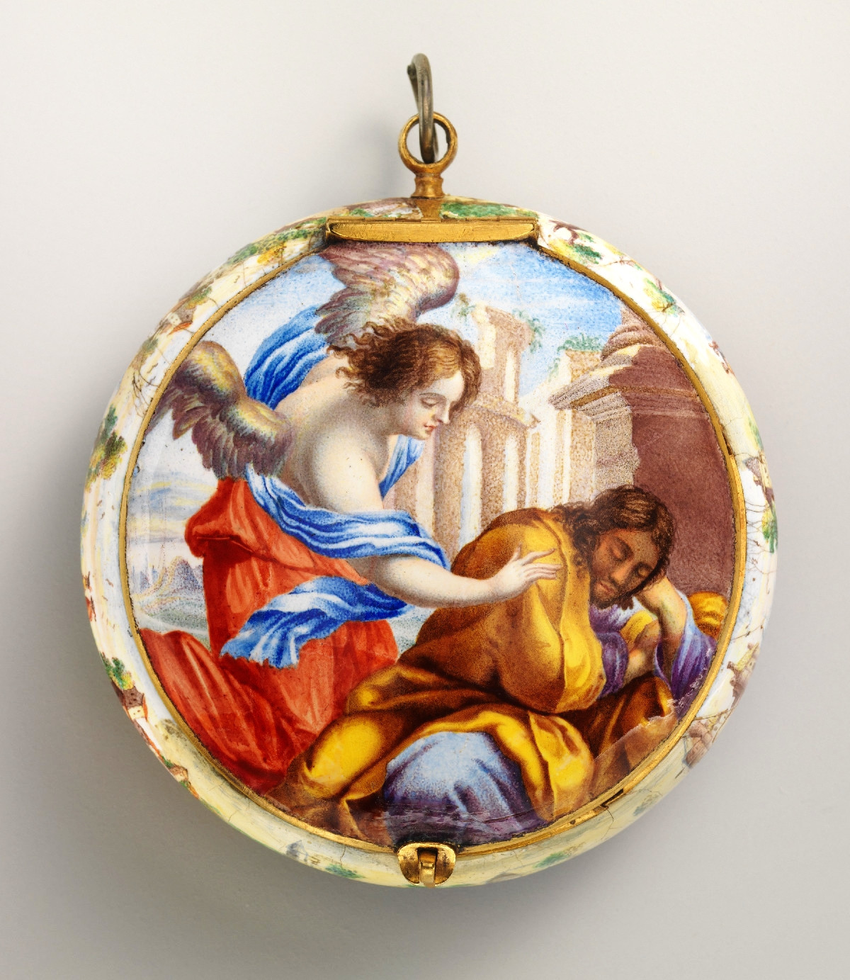 1645. Case and dial painted enamel on gold with brass hand; Movement gilded brass and partly blued steel. metmuseumFrench, probably Paris