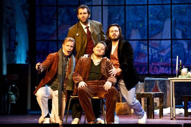 Espen Langvik as Schaunard, Giovanni Battista Parodi as Colline, Diego Torre as Rodolfo and Vasilij Ladjuk in Norwegian National Opera's production of La bohème © Norwegian National Opera, 2015