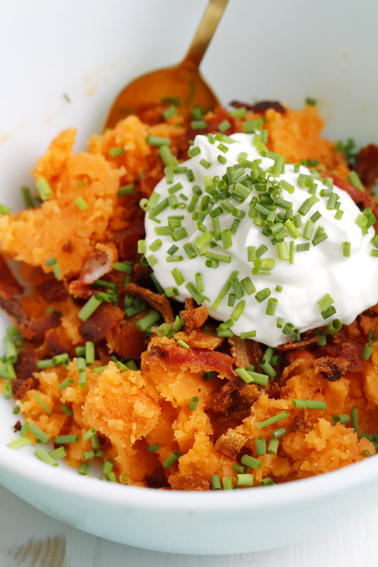 Twice Baked Sweet Potatoes with Bacon and Chives | girlversusdough.com @girlversusdough #potatoes #baking #recipe