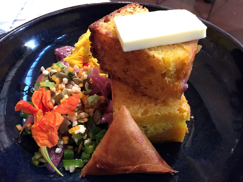 Corn bread with honey grain salad