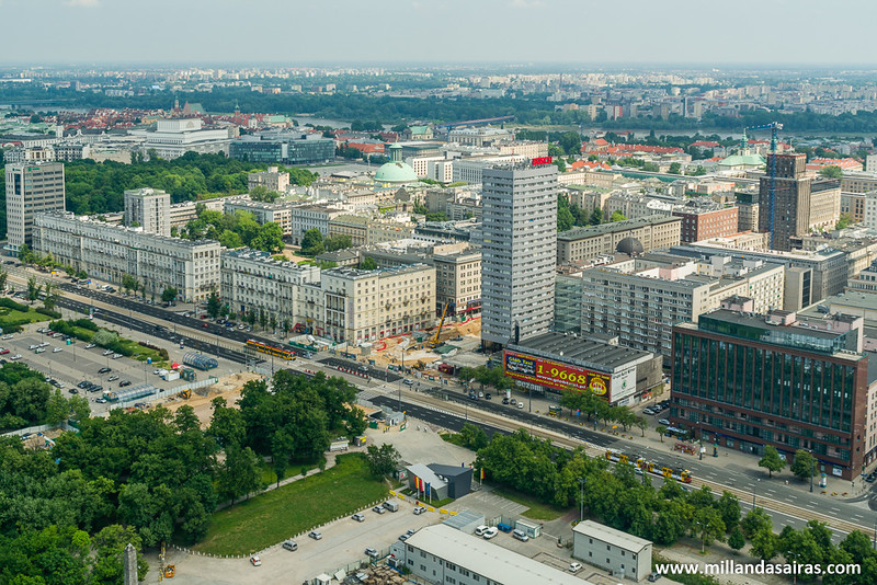 Vistas de Varsovia desde el Palacio de la Cultura y la Ciencia