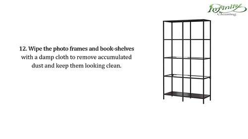 14. Wipe the photo frames and book-shelves