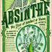 absinthe, label, skeleton, skull, bird, blackbird, green, elixir - Designspiration - Popular