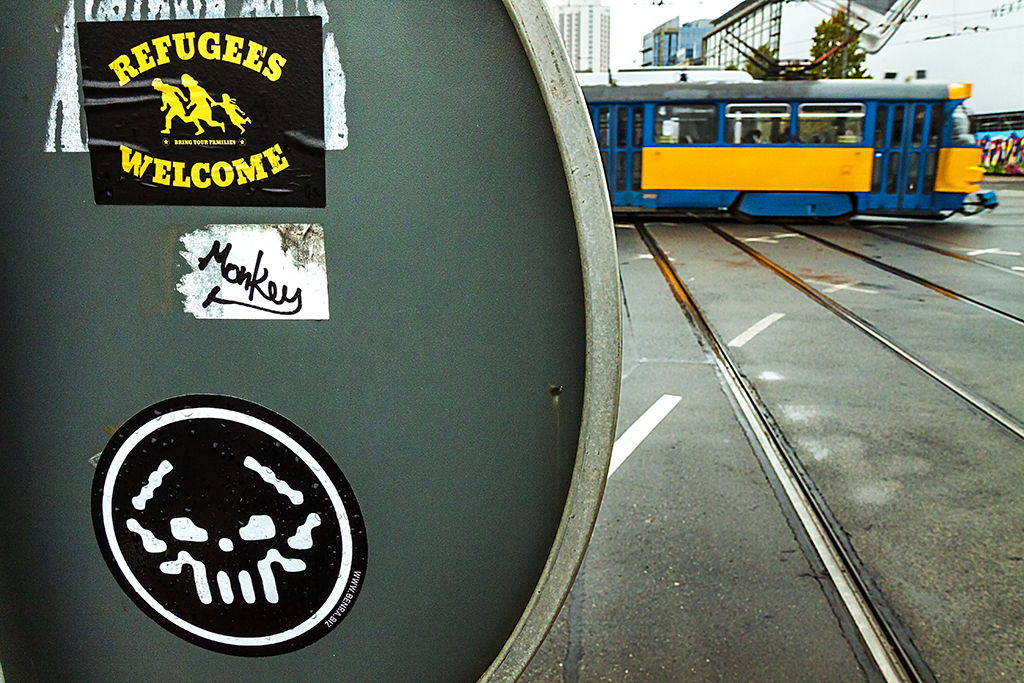 REFUGEES WELCOME sticker on 10-8-15--Leipzig