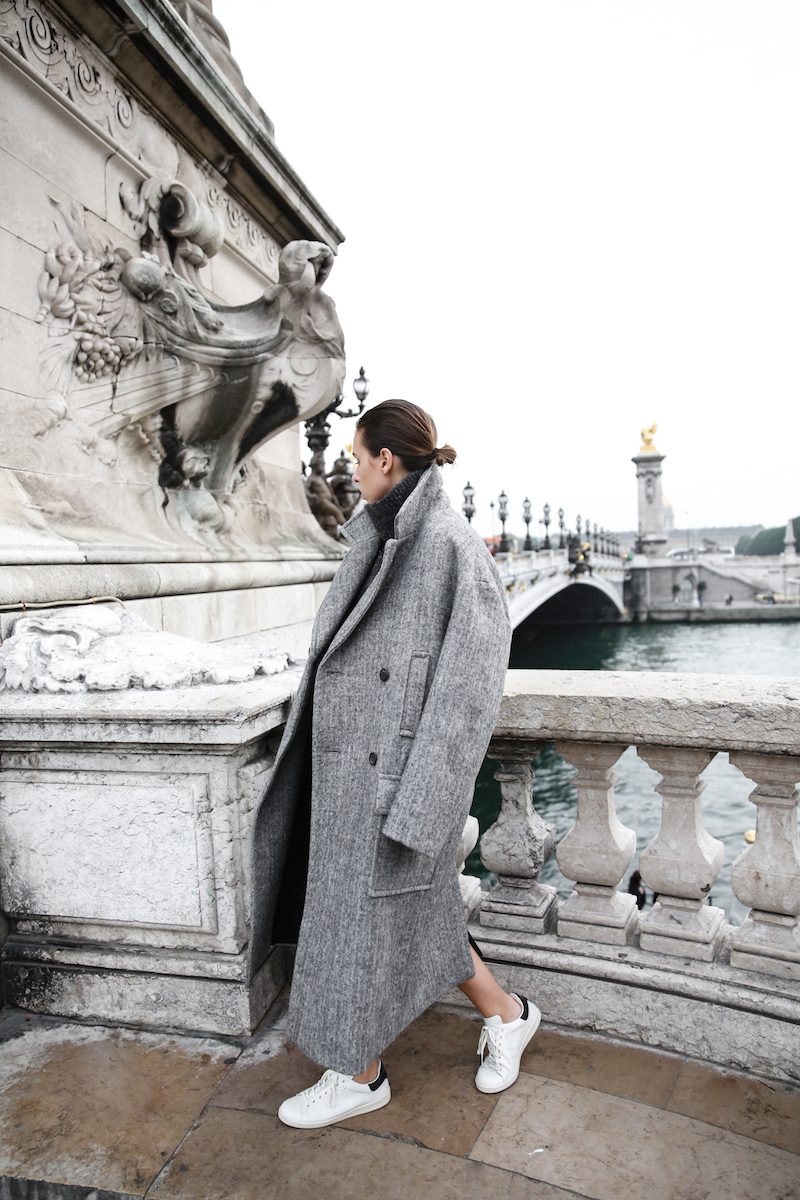 winter essentials, all grey, Paris, street style, comfort dressing, oversized, Isabel Marant Bart sneakers, MODERN LEGACY x MATCHESFASHION.COM, Raey