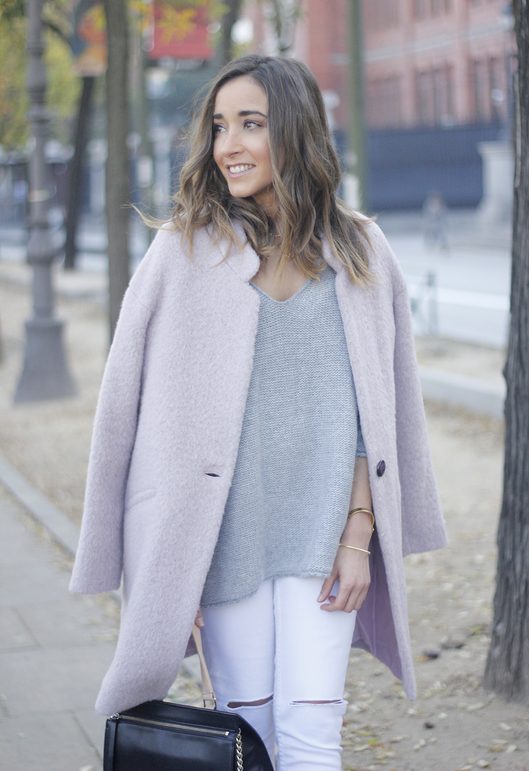 Tintoretto Pink Coat white jeans grey sweater outfit05