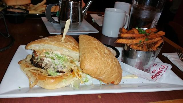 Red Robin bleu ribbon burger with yam fries upgrade