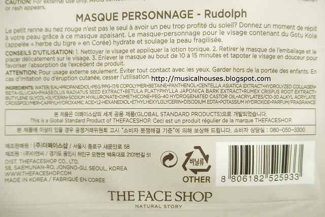 The Face Shop Around The World Character Mask Ingredients Rudolph