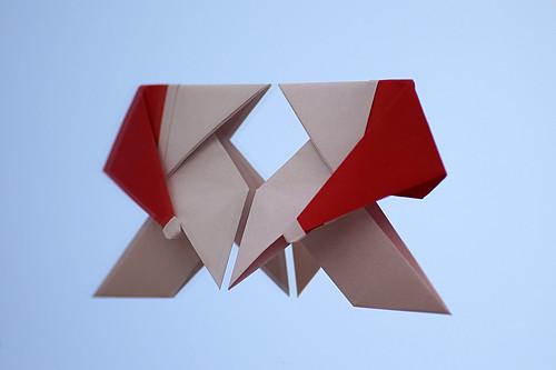 Origami Santa-Pajarita or Pajarita con gorro navideño (Juan Pedro Rubio)