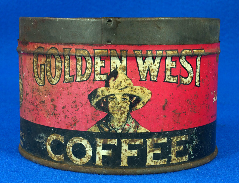 RD15323 Vintage 1927 Golden West Coffee Can Tin 1 lb. Cowgirl DSC09108
