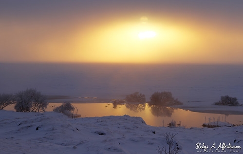 nature outdoor winter snow ice lake bush sunset sun fog sky mývatn iceland