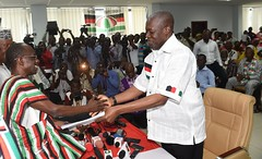 VP Amissah-Arthur receiving presidential nomination forms on President Mahama's behalf from NDC General Secretary Asiedu Nketia