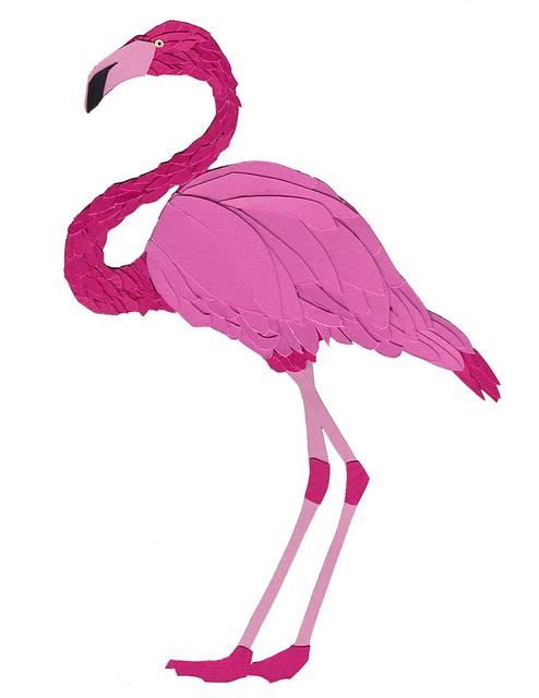 Paper Sculpture Flamingo by Utensils0