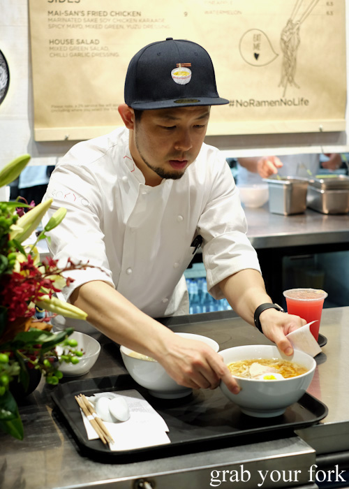 Head chef Chase Kojima on the pass at the Sokyo Ramen pop-up at The Star
