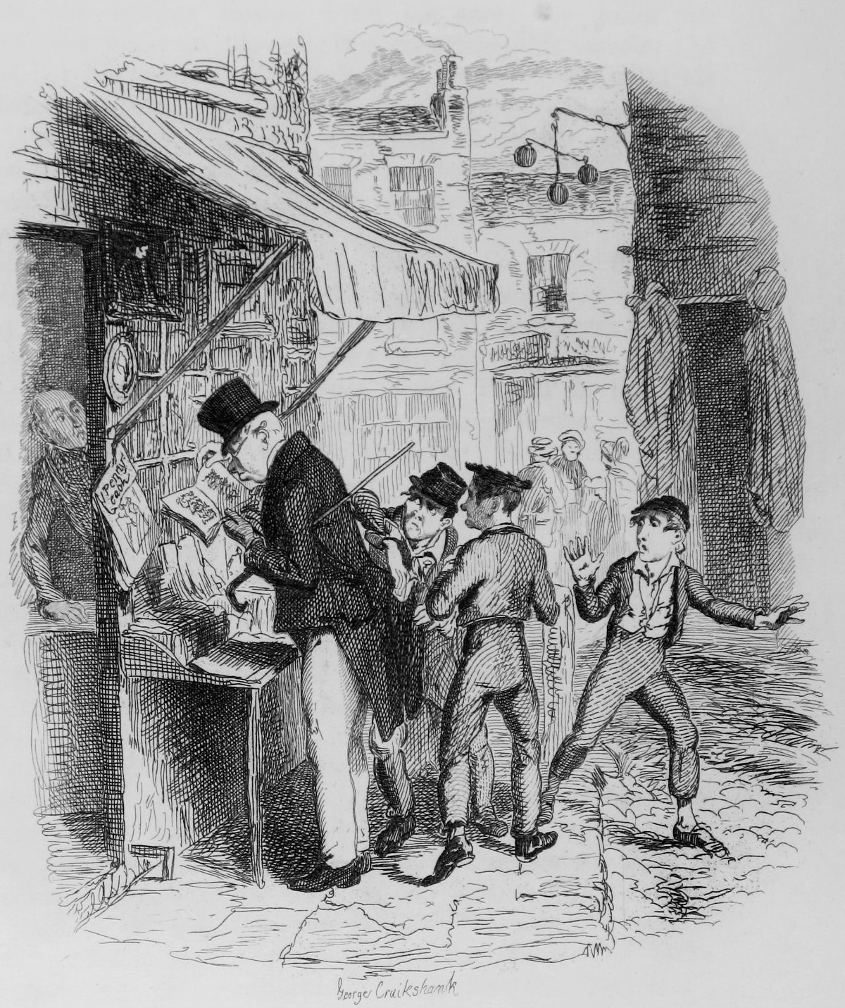 A photograph of an engraving in The Writings of Charles Dickens volume 4, Oliver Twist, titled 'Oliver amazed at the Dodger's Mode of 'going to Work' '