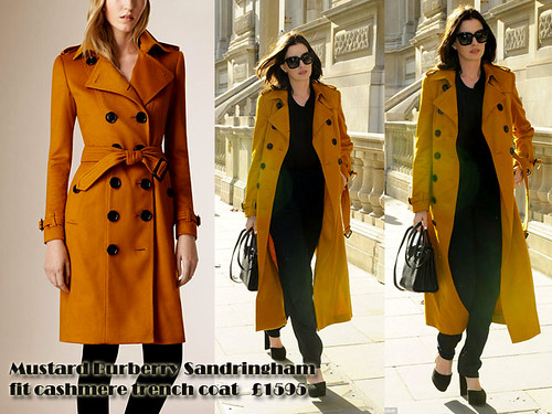 Mustard Burberry Sandringham fit cashmere trench coat: Coloured trench coats trend