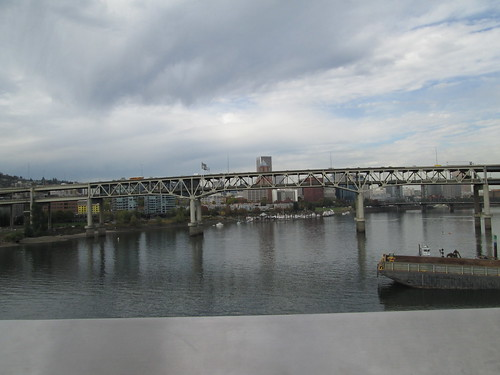 Looking north at the Marquam Bridge and downtown