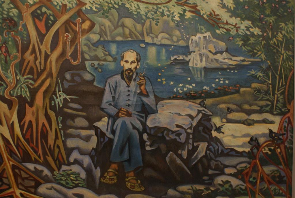 Ho Chi Minh sur une peinture naive au Musée des beaux arts d'Hanoi au Vietnam.
