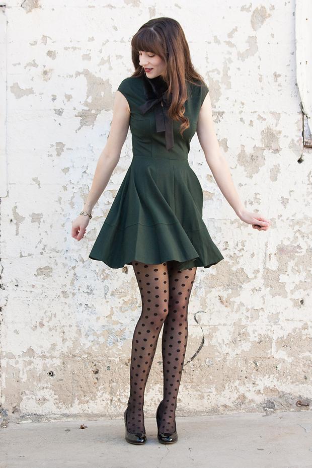 Bar III dress, Holiday Dress, Polka Dot Tights